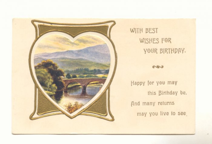BEST WISHES BIRTHDAY HEART FRAMED SCENE VERSE POSTCARD   #305