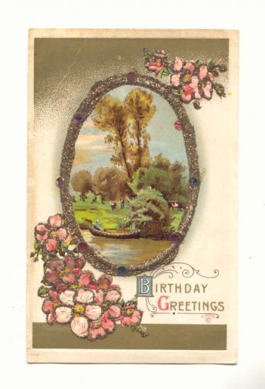 BIRTHDAY GREETINGS, PARK SCENE, FLOWERS, GLITTER POSTCARD #310