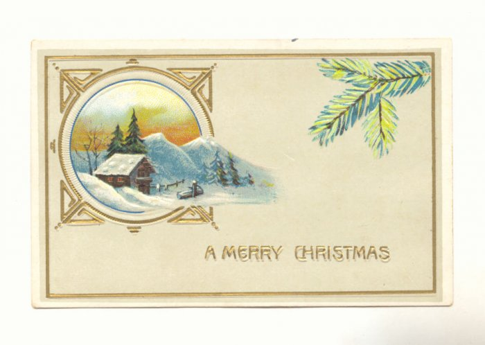 MERRY CHRISTMAS COUNTRY SCENE PINE BOUGH POSTCARD   #312