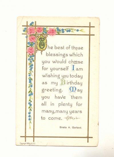 BIRTHDAY GREETING, VERSE, ROSES VINTAGE 1911 POSTCARD   #311