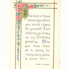 BIRTHDAY GREETING, VERSE, ROSES VINTAGE 1911 POSTCARD   #311
