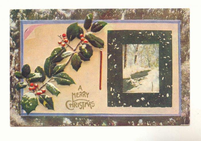 A MERRY CHRISTMAS, HOLLY, SNOW, STREAM SCENE POSTCARD   #314