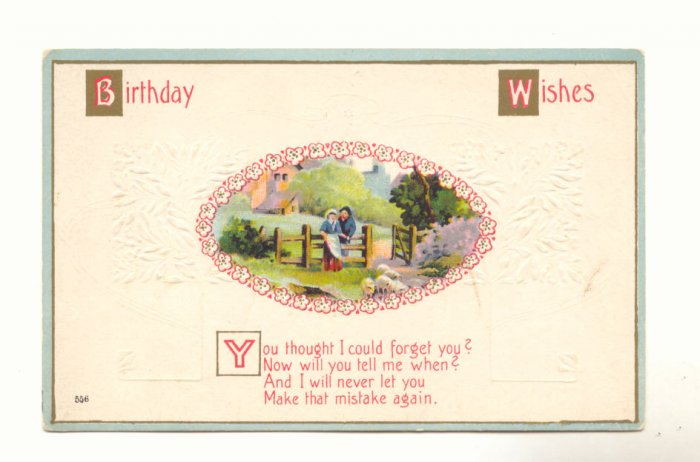 BIRTHDAY WISHES MAN LADY SHEEP VERSE VINTAGE POSTCARD   #323