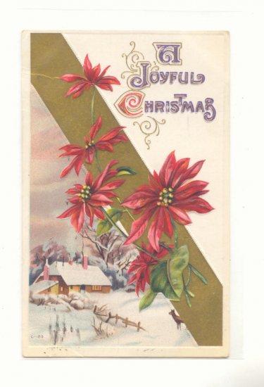 JOYFUL CHRISTMAS, WINTER SCENE DEER POINSETTIA 1915 POSTCARD #328