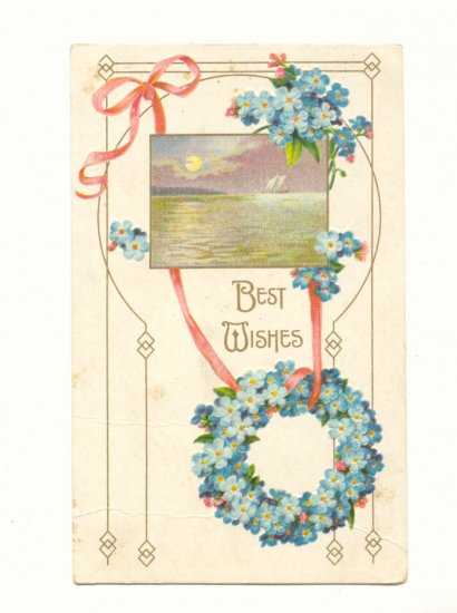 BEST WISHES FORGET ME NOT WREATH WATER SCENE POSTCARDS   #334