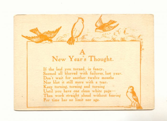 NEW YEAR'S THOUGHT BIRDS VERSE VINTAGE POSTCARDS   #338