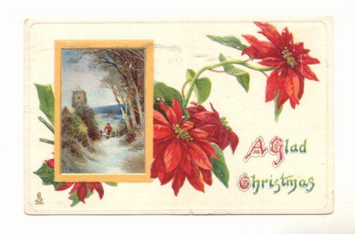 TUCK'S GLAD CHRISTMAS POINTSETTIA WINTER SCENE VINTAGE POSTCARD 1909  #345