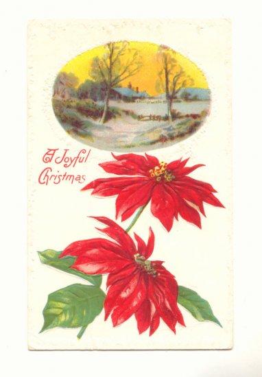 JOYFUL CHRISTMAS WINTER SCENE POINTSETTIA 1914 POSTCARD    #347