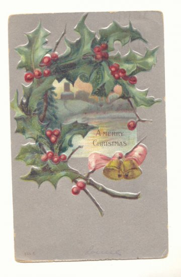 MERRY CHRISTMAS HOLLY GOLD BELLS SILVER VINTAGE 1907    POSTCARD #351