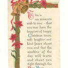 SEASON'S WISH CHRISTMAS VERSE VINTAGE POSTCARD   #352