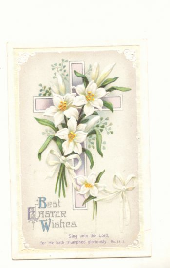 EASTER WISHES DAFFODILS CROSS VINTAGE POSTCARD ANTIQUE  #362