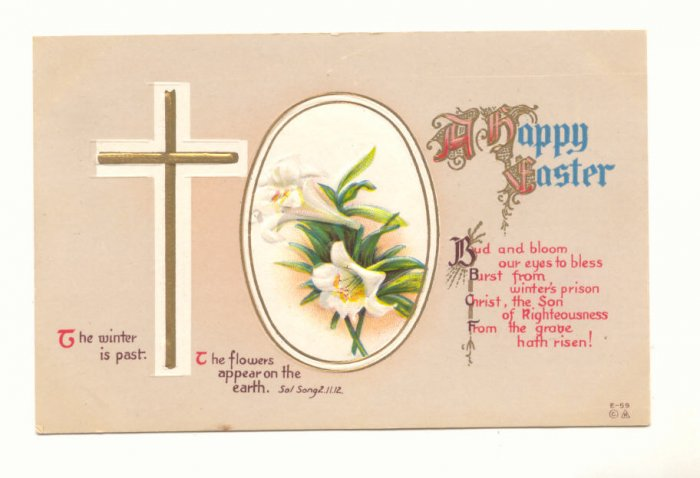 HAPPY EASTER CROSS LILY VINTAGE 1914 POSTCARDs   #364