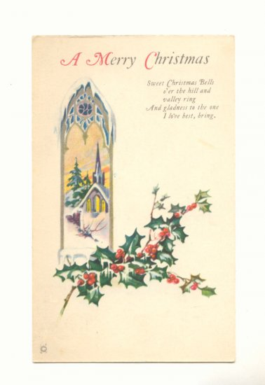 MERRY CHRISTMAS CHURCH SCENE HOLLY VERSE VINTAGE   POSTCARD #371
