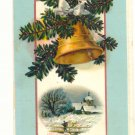 1910 MERRY CHRISTMAS GOLD BELL PINE WINTER SCENE  POSTCARD #372