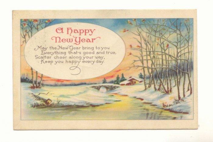 WINTER SCENE HAPPY NEW YEAR VERSE VINTAGE  1924 POSTCARD  #358