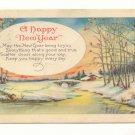 WINTER SCENE HAPPY NEW YEAR VERSE VINTAGE  1924 POSTCARD  #358