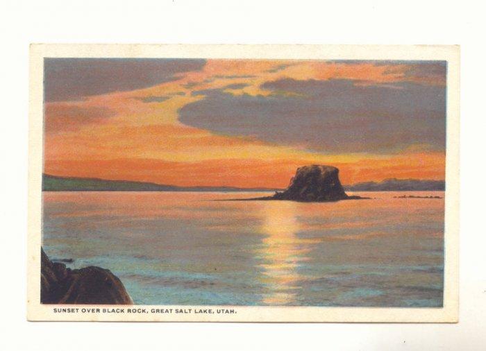 SUNSET OVER BLACK ROCK, GREAT SALT LAKE, UTAH POSTCARD   #378