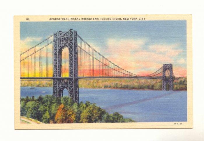 GEORGE WASHINGTON BRIDGE HUDSON RIVER NEW YORK CITY  Postcard #381