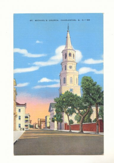 ST MICHAEL'S CHURCH CHARLESTON SOUTH CAROLINA  Vintage Postcard #382
