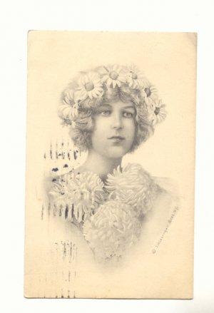 PRETTY LADY, DAISY CROWN, LARGE CARNATIONS 1914   Postcard #393