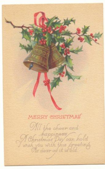 MERRY CHRISTMAS GOLD BELLS HOLLY VERSE VINTAGE POSTCARD    #398