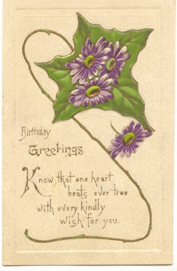 BIRTHDAY GREETINGS, PURPLE FLOWERS IVY LEAF POSTCARD    #399