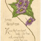 BIRTHDAY GREETINGS, PURPLE FLOWERS IVY LEAF POSTCARD    #399