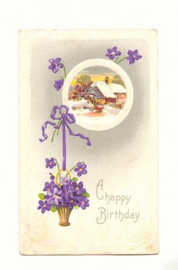 BIRTHDAY HANGING BASKET VIOLETS, WATERMILL SCENE 1911 Vintage Postcard #400
