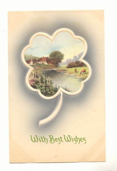 BEST WISHES, COUNTRY SCENE IN CLOVER, COWS, POSTCARD   #409
