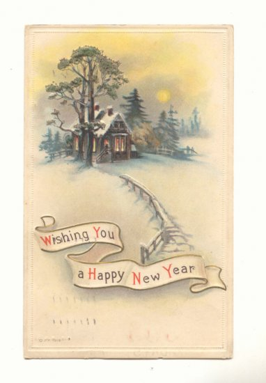 HAPPY NEW YEAR, MOONLIT COUNTRY CABIN 1916 POSTCARD   #410