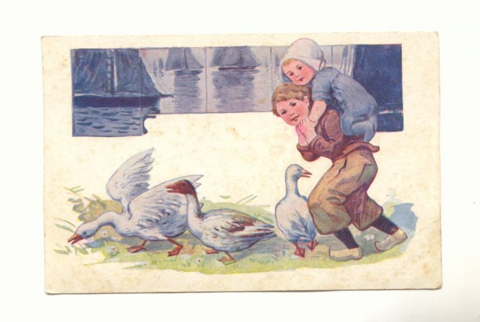 YOUNG DUTCH COUPLE, GEESE, VINTAGE POSTCARD   #411