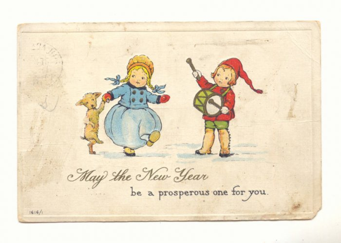 PROSPEROUS NEW YEAR, DANCING GIRL, BOY PLAYS DRUM, DOG Postcard #417
