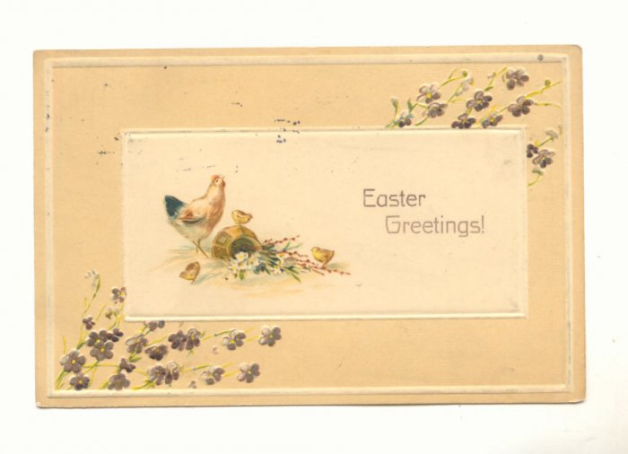 EASTER GREETING, HEN & CHICKS FLOWERS, VINTAGE POSTCARD  #423