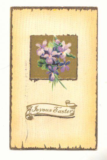 JOYOUS EASTER, VIOLETS, 1911 VINTAGE POSTCARD, ANTIQUE   #425
