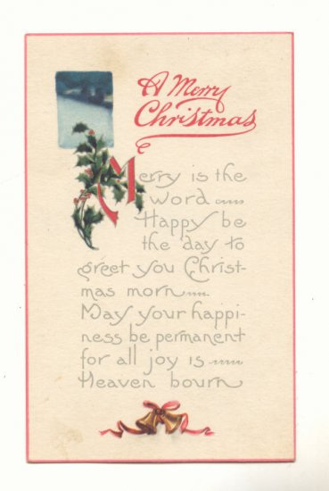 MERRY CHRISTMAS, BELLS, HOLLY, VINTAGE POSTCARD    #426