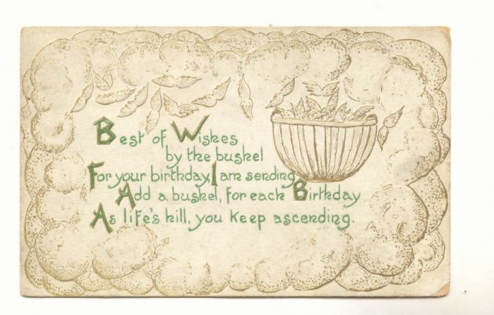 BEST OF WISHES BY THE BUSHEL, Basket OF WINGS 1911   Postcard #427