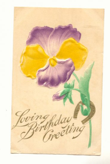 LOVING BIRTHDAY LARGE AIRBRUSED PANSY HORSESHOE   Postcard #429