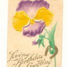 LOVING BIRTHDAY LARGE AIRBRUSED PANSY HORSESHOE   Postcard #429