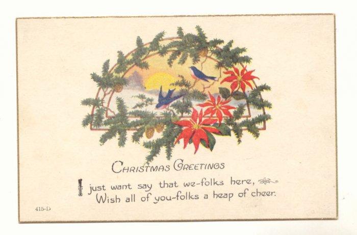 BLUE BIRDS PINECONES POINTSETTIA CHRISTMAS POSTCARD   #440
