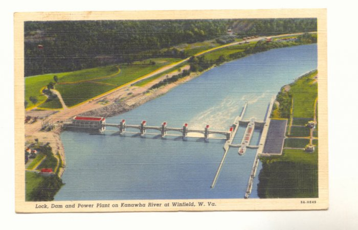 LOCK, DAM AND POWER PLANT KANAWHA RIVER WINFIELD W VA   #456