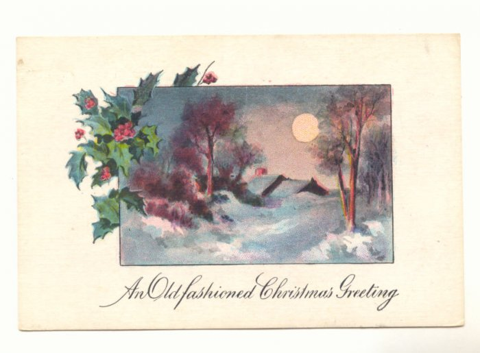 OLD FASHIONED CHRISTMAS FULL MOON WINTER SCENE VINTAGE  Postcard #460
