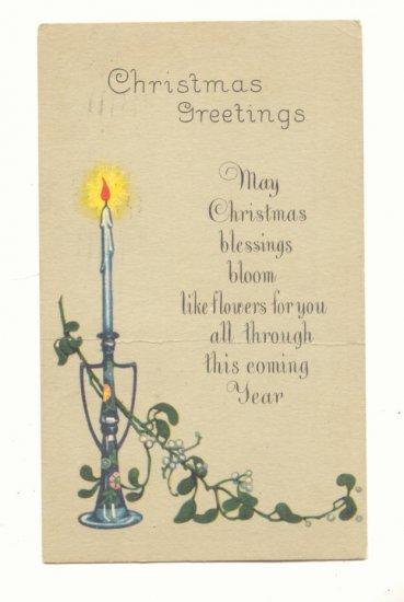 1924 Christmas Verse, Mistletoe Candle Vintage Postcard   #465