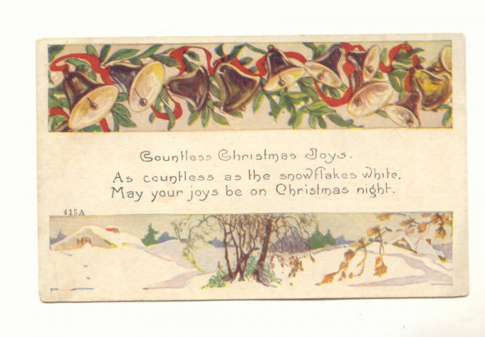 1920 CHRISTMAS JOYS, MISTLETOE, GOLD BELLS POSTCARD   #466