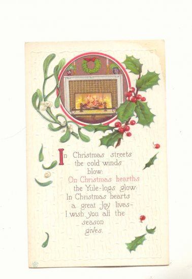 CHRISTMAS HEARTS, Mistletoe, Fireplace, Vintage 1914 Postcard #468