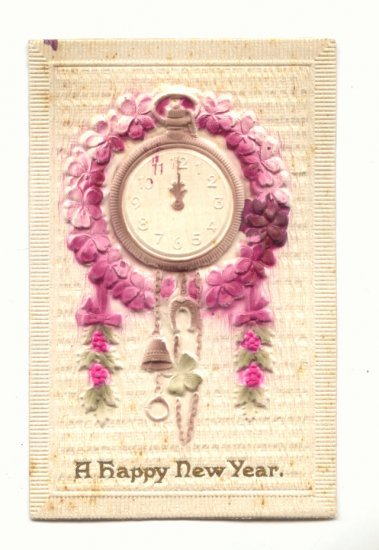 HEAVY EMBOSSED NEW YEAR, CLOCK UNUSED POSTCARD    #471