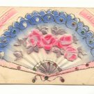 BEST WISHES, Heavy Embossed Fan, Flocked Roses Postcard   #472
