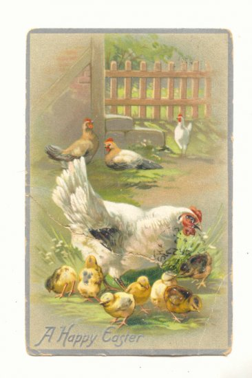 A HAPPY EASTER, HEN AND CHICKS, VINTAGE TUCKS POSTCARD   #475