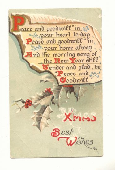 XMAS BEST WISHES, HOLLY, VERSE, VINTAGE 1910 POSTCARD   #477