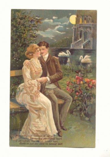 ROMANTIC COUPLE, SWANS, MOONLIGHT, VINTAGE POSTCARD   #480
