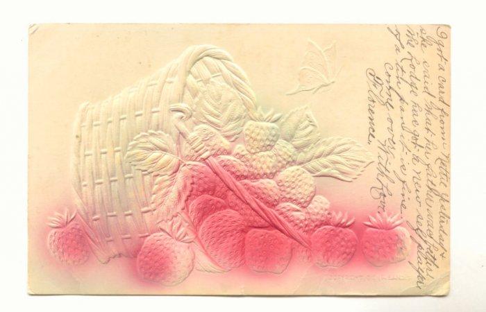 1909 BASKET SPILLED STRAWBERRIES, AIRBRUSHED POSTCARD   #482